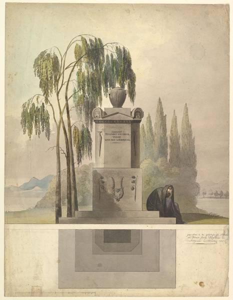 Scandinavian Style Painting - Design For A Tomb, Rothgeisser In Nuremberg Elevation And Ground Plan Johann Georg Durschner Germ by Johann Georg Durschner