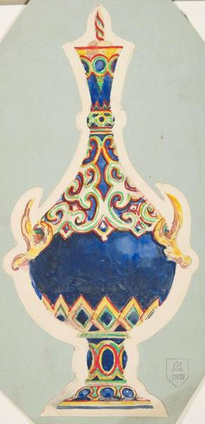 Scandinavian Style Painting - Design For A Vase With Lid  Anonymous, French, 19th Century by MotionAge Designs