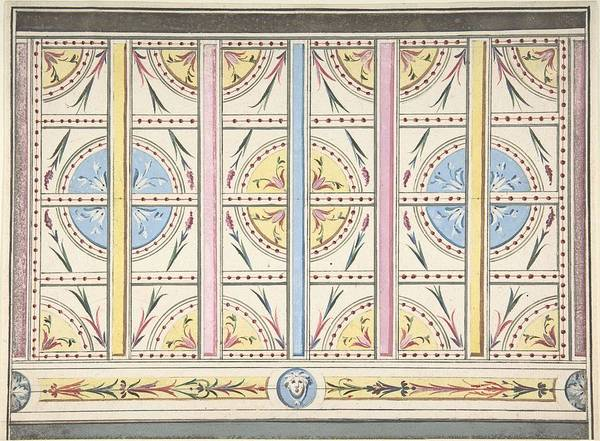 Scandinavian Style Painting - Design For A Wall Decoration   Anonymous, British, 19th Century by MotionAge Designs