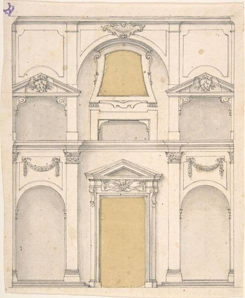 Scandinavian Style Painting - Design For A Wall Elevation Over Two Floors  Anonymous, Italian, 17th Century by MotionAge Designs