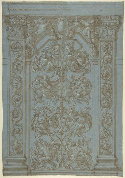 Scandinavian Style Painting - Design For A Wall Elevation With Grotesques  Anonymous, Italian, Second Half Of The 16th Century by MotionAge Designs
