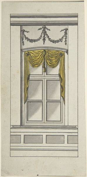 Scandinavian Style Painting - Design For A Window With Yellow Drapery  Attributed To Anonymous, German, 18th Century by MotionAge Designs