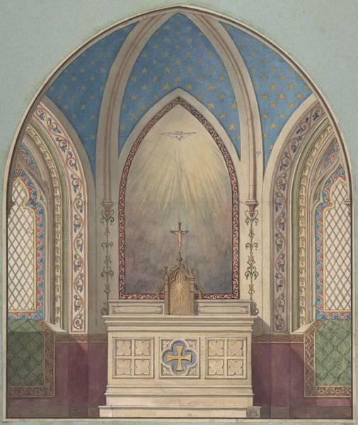 Scandinavian Style Painting - Design For Altar, Saint Clotilde Jules-edmond-charles Lachaise French, Died 1897 by Jules-Edmond-Charles Lachaise