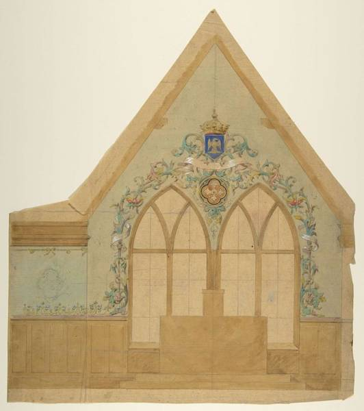 Scandinavian Style Painting - Design For An Altar Chapel, Farnborough, England Jules-edmond-charles Lachaise French, Died 1897 by Jules-Edmond-Charles