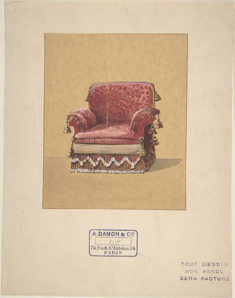 Scandinavian Style Painting - Design For An Armchair  A. Damon Et Cie. French, Active Ca. 1870-1900 by Damon et Cie