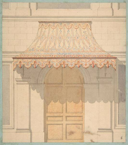 Scandinavian Style Painting - Design For An Awning Over A Door, In Moorish Style  Jules-edmond-charles Lachaise French, Died 1897 by Jules-Edmond-Charles