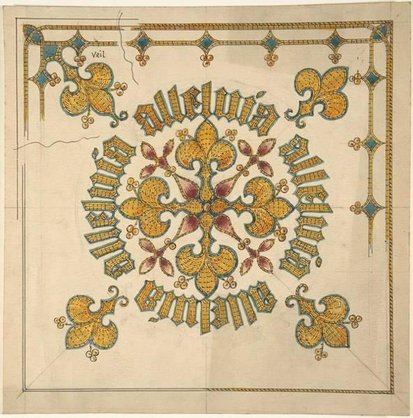 Scandinavian Style Painting - Design For An Ecclesiastical Veil   Ernest Geldart British, London 1848-1929 by Ernest Geldart