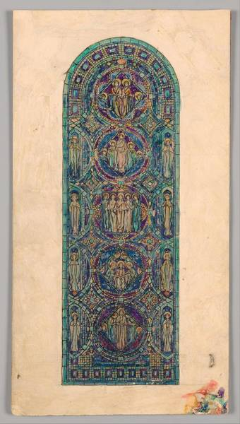 Classic Car Drawings Painting - Design For  Angels Of Praise  Window   Louis Comfort Tiffany American, New York 1848-1933 New York by MotionAge Designs