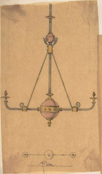 Classic Car Drawings Painting - Design For Gas Lights For A Church  Richardson Ellson And Co. British by Richardson Ellson