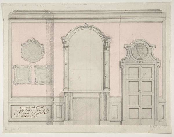 Wall Art - Painting - Design For Treatment Of A Chimney-piece And Adjacent Door  Jules-edmond-charles Lachaise French, D by Jules-Edmond-Charles Lachaise