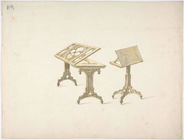 Wall Art - Painting - Design For Two Bookstands On Casters   Anonymous, British, 19th Century by MotionAge Designs