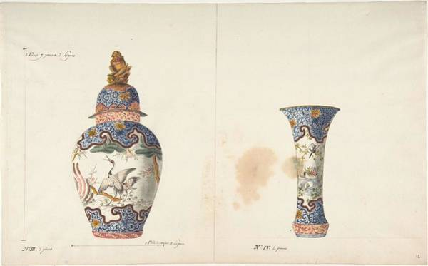Wall Art - Painting - Design For Two Vases Anonymous, French, 18th Century by MotionAge Designs