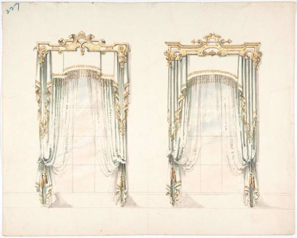 Wall Art - Painting - Design For Two White Curtains With Gold Fringes And A White And Gold Pelmets  Anonymous, British, 19 by MotionAge Designs