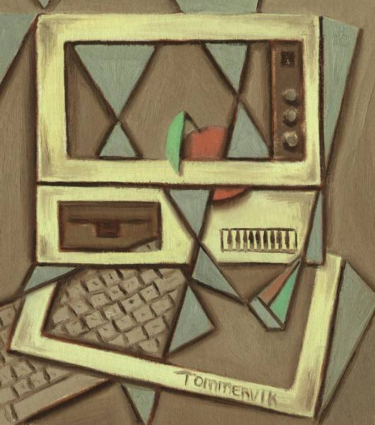 Painting - Desktop Computer With An Apple Art Print by Tommervik