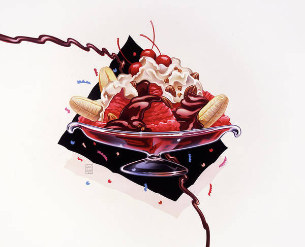 Almond Painting - Dessert Banana Split by Garth Glazier