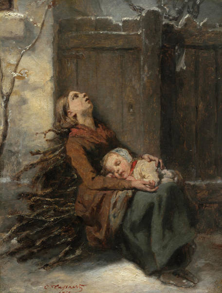 Wall Art - Painting - Destitute Dead Mother Holding Her Sleeping Child In Winter, 1850 by Octave Tassaert