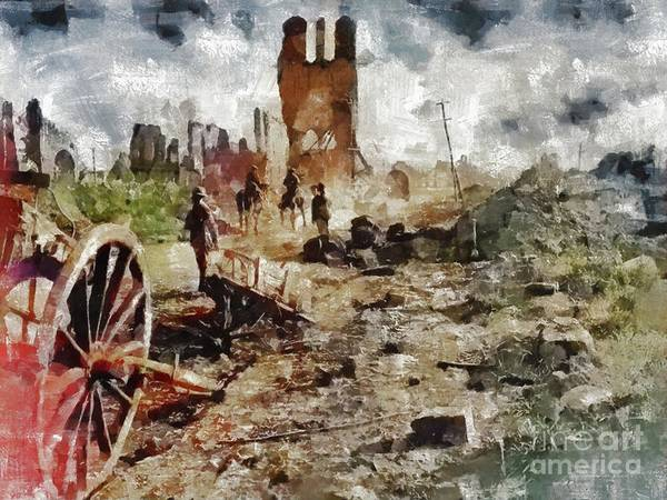 Wall Art - Painting - Destruction, World War One by Mary Bassett