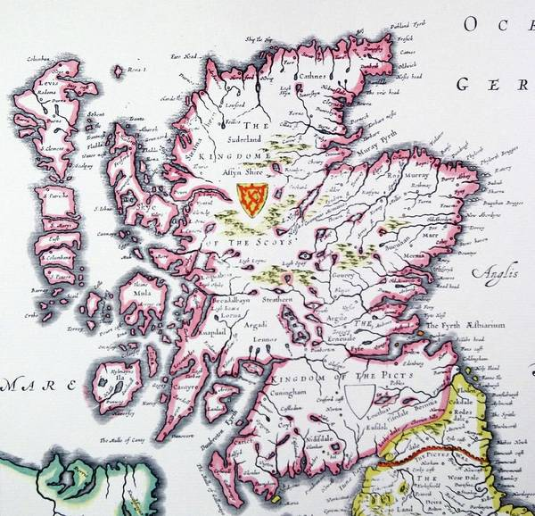 Drawing - Detail From An Antique Map Of Scotland by British School