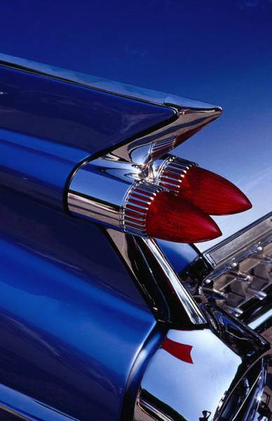 Tail Light Photograph - Detail Of An American Cadillac, Eze by Richard I'anson