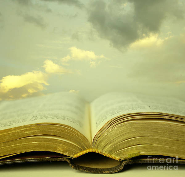 Wall Art - Photograph - Detail Of An Old Holy Bible Open With A by Valentina Photos