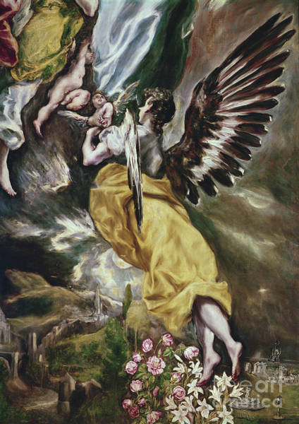 Wall Art - Painting - Detail Of Angel, Flowers, Marian Attributes And Toledo By El Greco by El Greco