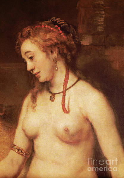Wall Art - Painting - Detail Of Bathsheba Bathing, 1654 by Rembrandt