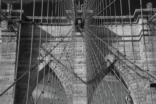 Photograph - Detail Of Brooklyn Bridge Brickwork In Monochrome by Mark Hunter