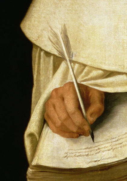 Note Book Painting - Detail Of Brother Pedro Machado Writing by Francisco De Zurbaran