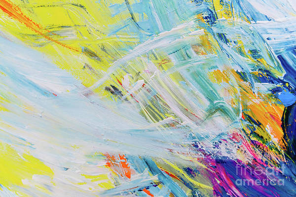 Detail Of Brush Strokes Of Random Colors To Use As Background An Art Print