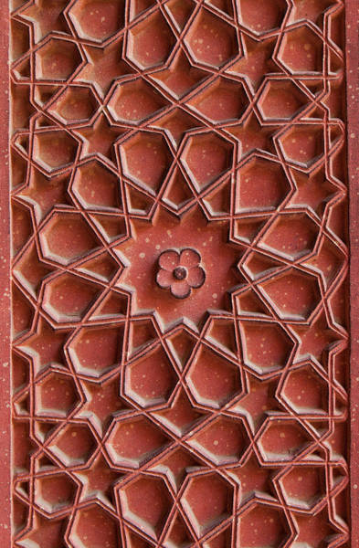 Photograph - Detail Of Carvings On Wall In Agra Fort by Inti St. Clair