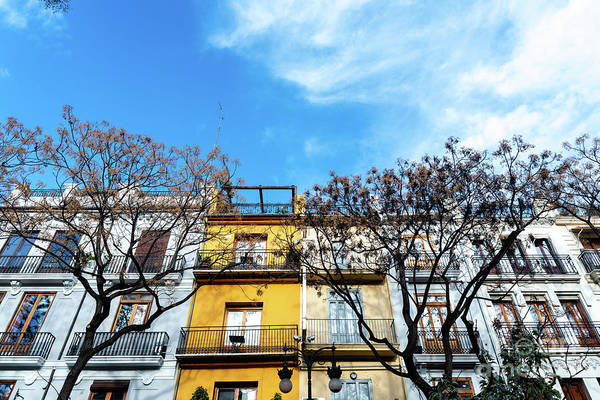 Photograph - Detail Of Colorful Facades Of Houses In Mara Cristina Street In The Center Of The Tourist City Of Valencia by Joaquin Corbalan