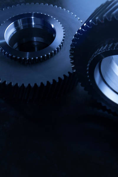 Detail Of Matching Gears In Blue Art Print by Caracterdesign