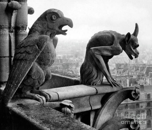 Wall Art - Photograph - Detail Of Monstrous Figures, Depicting A Bird And A Monster by French School