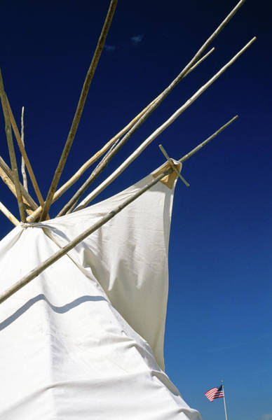 Usa Flag Photograph - Detail Of Tee Pee With Flag In by Carol Polich Photo Workshops