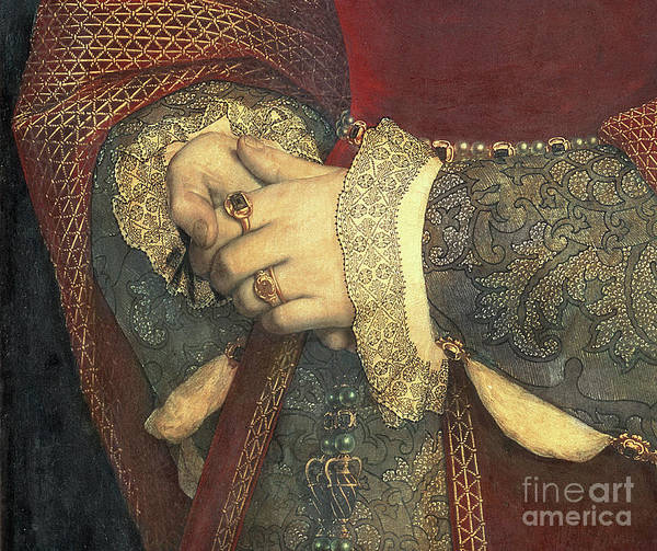 Wall Art - Painting - Detail Of The Hands Of Jane Seymour, 1536, Oil On Panel by Hans Holbein The Younger