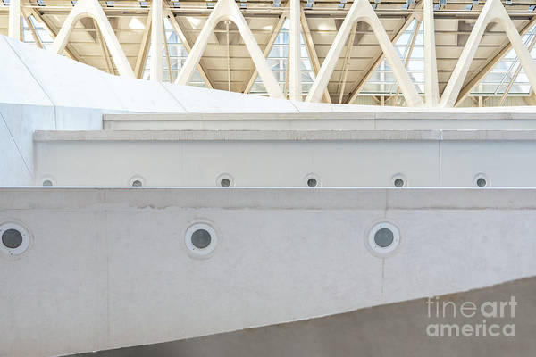 Photograph - Detail Of The Interior Of A Modernist Construction With White Cement. by Joaquin Corbalan