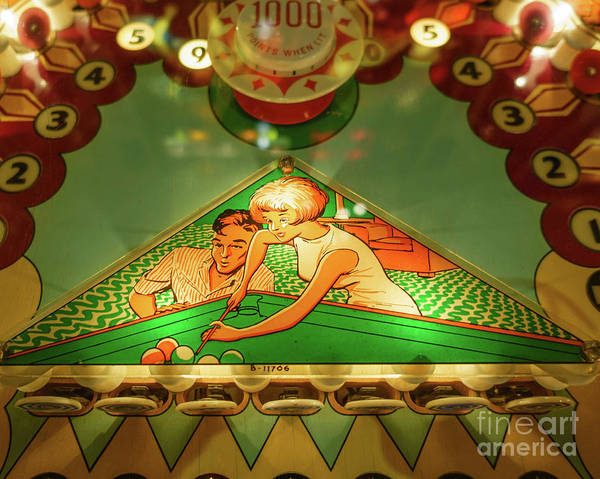 Wall Art - Photograph - Detail Vintage Pinball Machine With Pool Theme by Edward Fielding