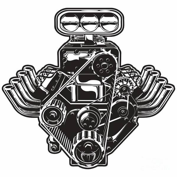 Wall Art - Digital Art - Detailed Cartoon Turbo Engine by Mechanik