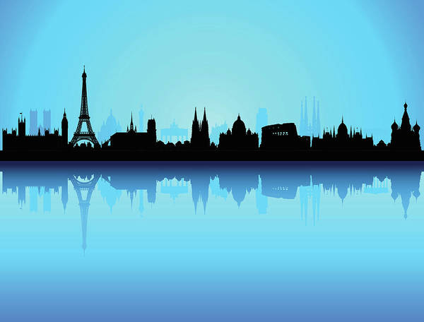 Exterior Digital Art - Detailed Europe Skyline Each Building by Leontura