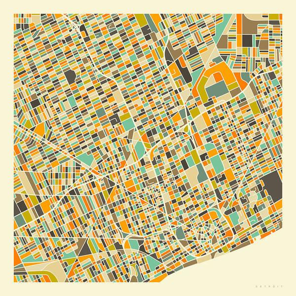 City Map Wall Art - Digital Art - Detroit Map 1 by Jazzberry Blue