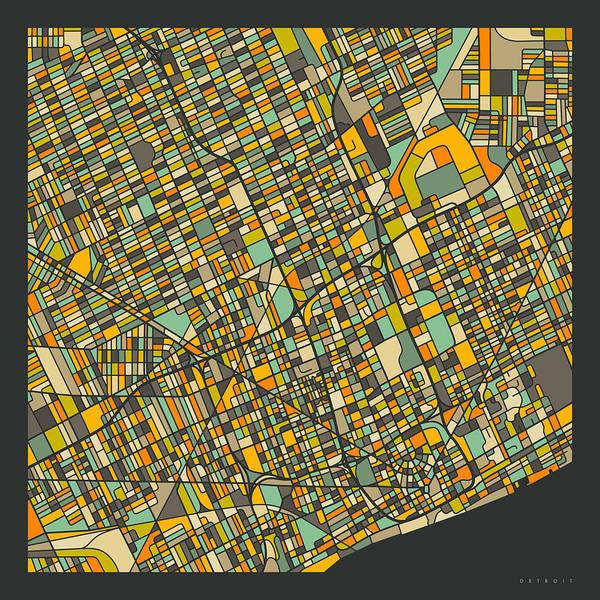 Detroit Map 2 Art Print