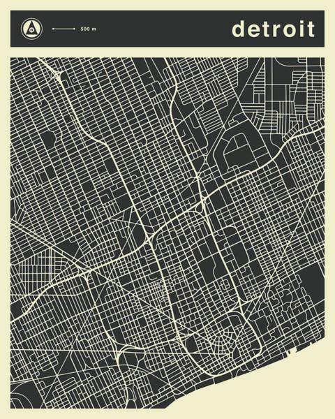 Detroit Map 3 Art Print