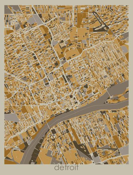 Wall Art - Digital Art - Detroit Map Retro 4 by Bekim M