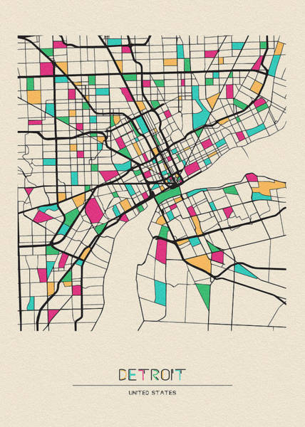 Wall Art - Drawing - Detroit, Michigan City Map by Inspirowl Design