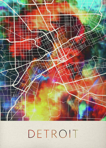 Wall Art - Mixed Media - Detroit Michigan Usa Watercolor City Street Map by Design Turnpike