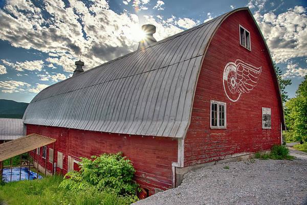 Wall Art - Photograph - Detroit Red Wings Logo - Red Barn by Joann Vitali