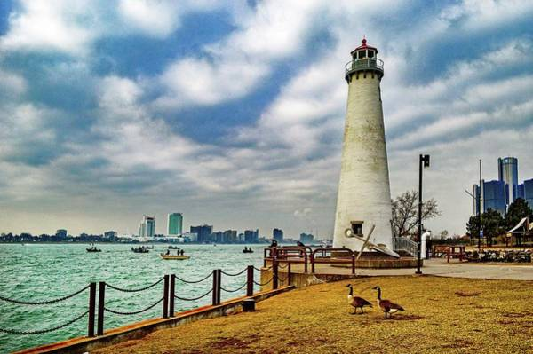 Photograph - Detroit River Light House And Geese Dsc_0096 by Michael Thomas