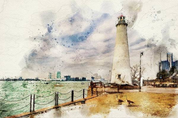 Photograph - Detroit River Light House And Geese Dsc_0096 Watercolored by Michael Thomas