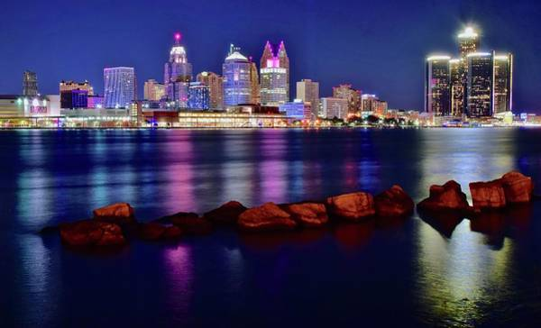 Wall Art - Photograph - Detroit Riverfront From Windsor by Frozen in Time Fine Art Photography