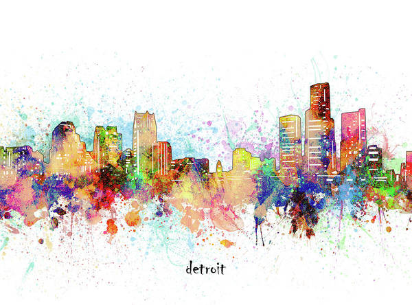 Wall Art - Digital Art - Detroit Skyline Artistic by Bekim M